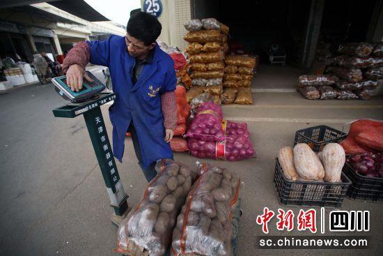 一名蔬菜批发商在给客户购买的土豆称重量 王磊 摄