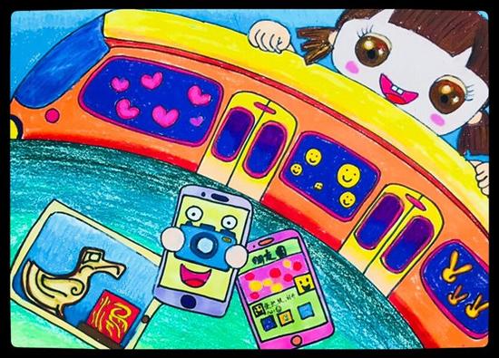 儿童画《地铁到温江》作者:任梓萱(一年级)