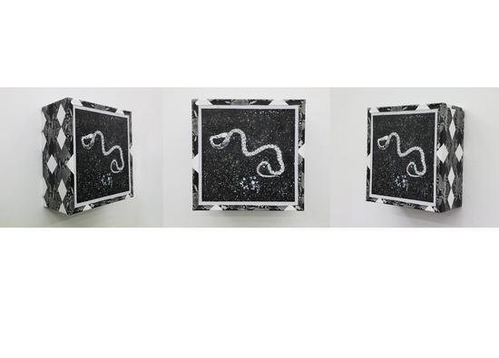 马文婷,去荒野 插图:来自Michael Lundgren No.2,蛇皮纹布 聚酯纤维,布面丙烯,40×40×20cm