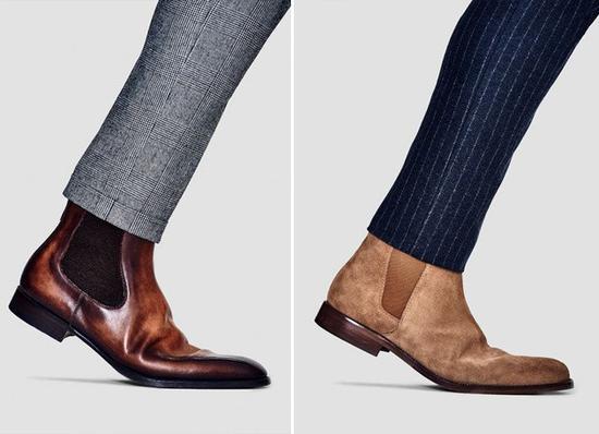 棕色系切尔西鞋配西裤