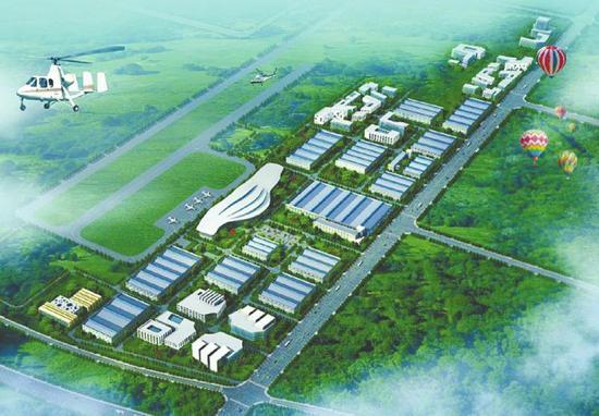 川南通用航空产业园规划鸟瞰示意图(资料图)