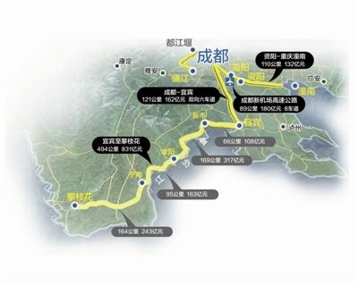 沿江高速图示,连接成都和攀西经济区