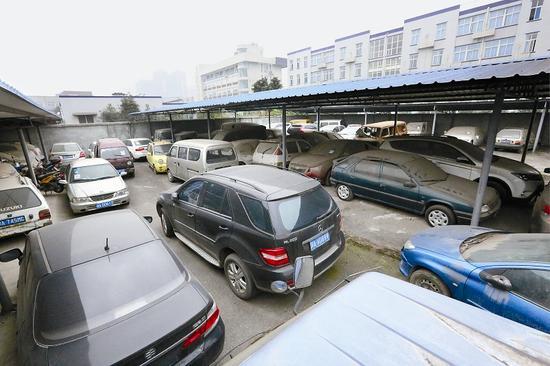 曾经的一处涉案车辆停放场地,停满了各种品牌的汽车。陈镭 摄