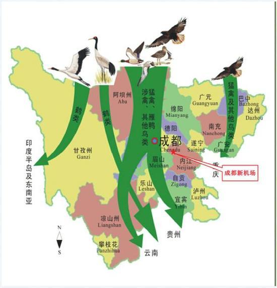 成都新机场与四川候鸟迁徙通道关系示意图。