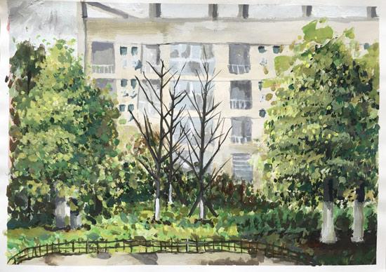 四川大学锦江学院学生手绘校园春景美爆了