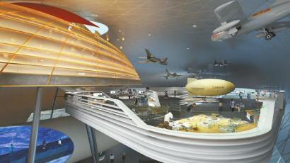 成都航空科技文化博览中心内部规划效果图。