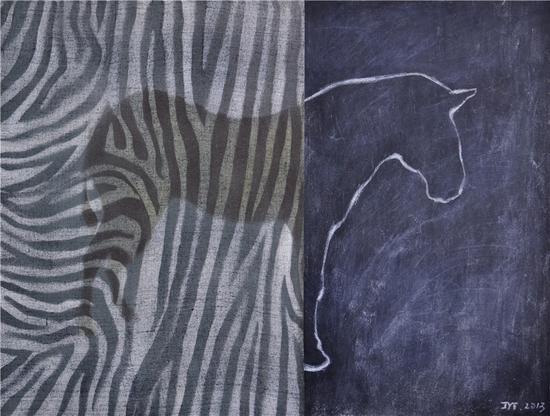 《透光系列之3》  布面油画 丙烯 粉笔 97x110cm  2013年