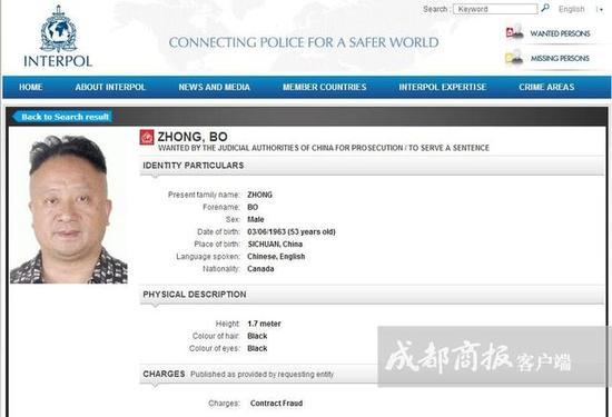 国际刑警组织官网上关于钟波的通缉令