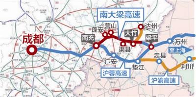 南大梁高速线路示意图