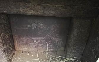 绵阳现明代古墓葬 牡丹雕花精美