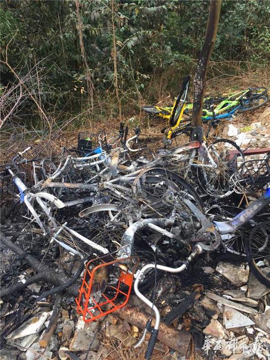 成都三圣乡一堆共享单车被烧