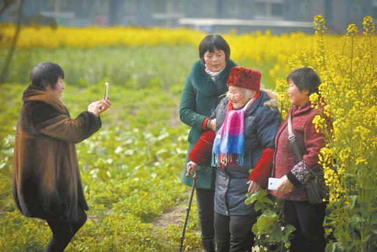 梁学华家门口的油菜花开得正艳,姐妹几个带着老妈来门前踏青赏花。