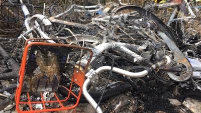 多辆共享单车被烧得面目全非 资料图