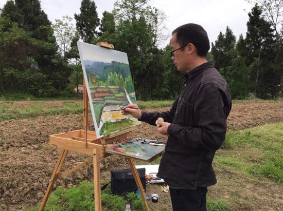 画家在宣汉采风作画