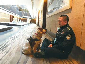 结束场馆安检工作后,民警和警犬坐在地上休息