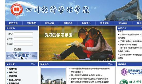 """做得有模有样的""""四川经济管理学院""""网站。"""
