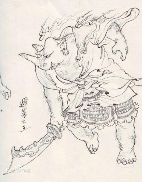 """《西游记》中的犀牛精""""辟暑大王"""",出自李云中《西游记人物图谱》"""