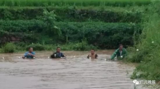 冒着大雨,村民和民警在堰塘里全力寻找小星。