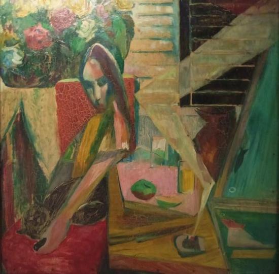 沈天万《可爱的小黑猫》,油画,80×80cm,1977年