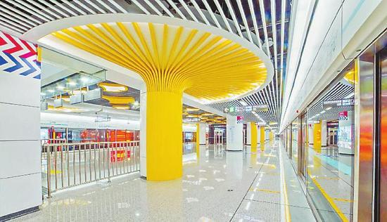 蘑菇造型的太平园站站台。  本报记者吴传明摄