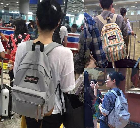 目测最近机场照背的还是前几年被她带红的平价双肩包