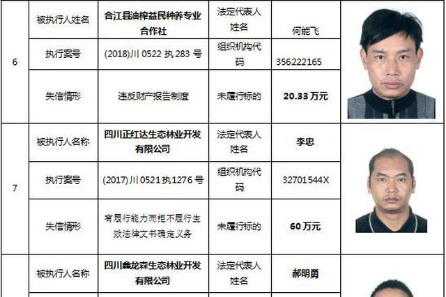 泸州市公布第三期失信被执行人名单 172个自然人和10个法人被