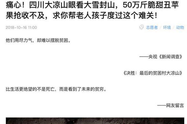 電商悲情營銷大涼山丑蘋果:當地政府辟謠、監管部門介入