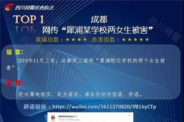 网警权威发布:四川近期谣言 快来看看吧!