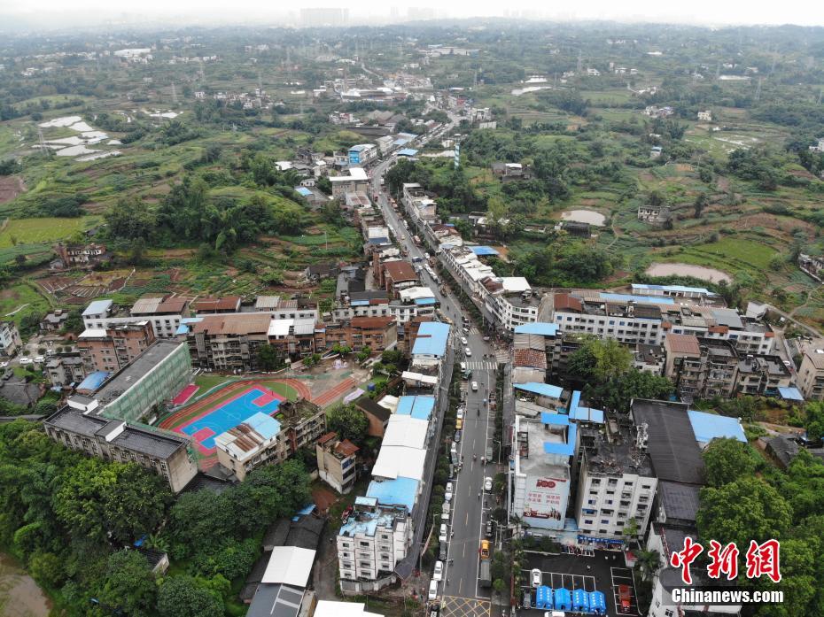 航拍四川泸县6.0级地震震中福集镇