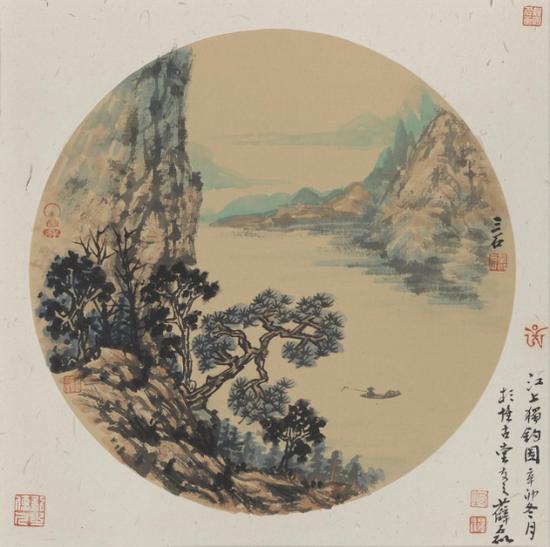 薛磊 《江上独钓》 32×32cm 2017纸本 售价:5000元