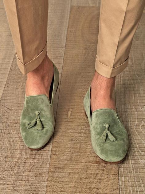 丝绒材质乐福鞋