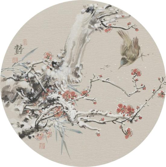 陈志才 《飞雪迎春图之二》 38×38cm扇面 2018 纸本 售价:5000元