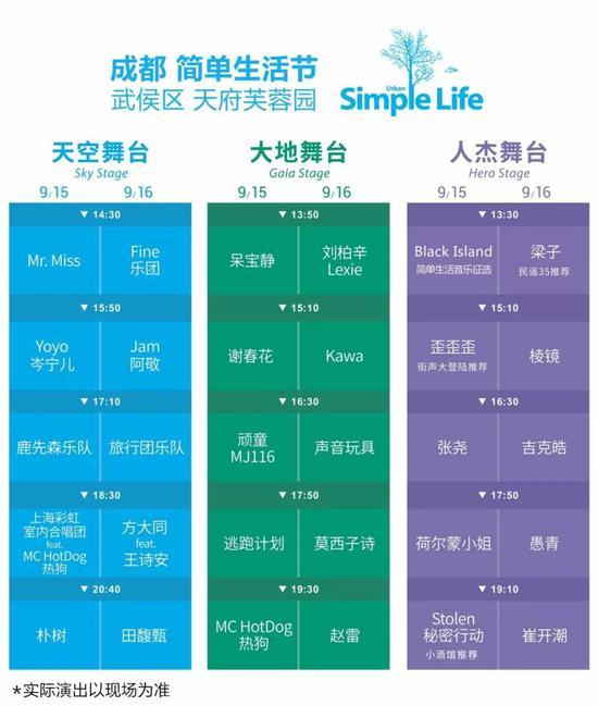 2018成都简单生活节节目单