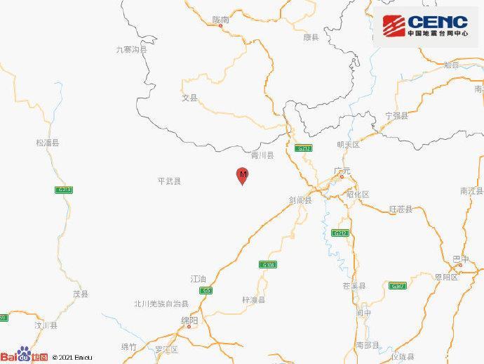 四川广元市青川县发生3.2级地震 震源深度12千米