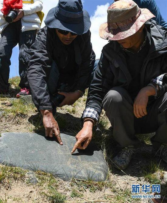 考察人员在查看称多县称文镇白龙村科哇岩画点的遗迹(5月14日摄)。新华社记者 李贺 摄