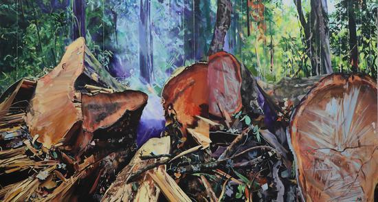 马文婷,降临,布面丙烯 油画,160×300cm,2018