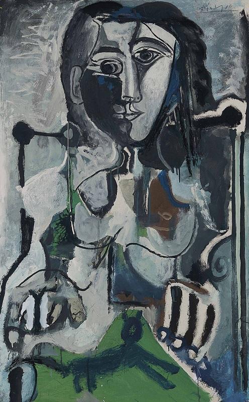 毕加索,《坐在扶手椅上的女人与猫》