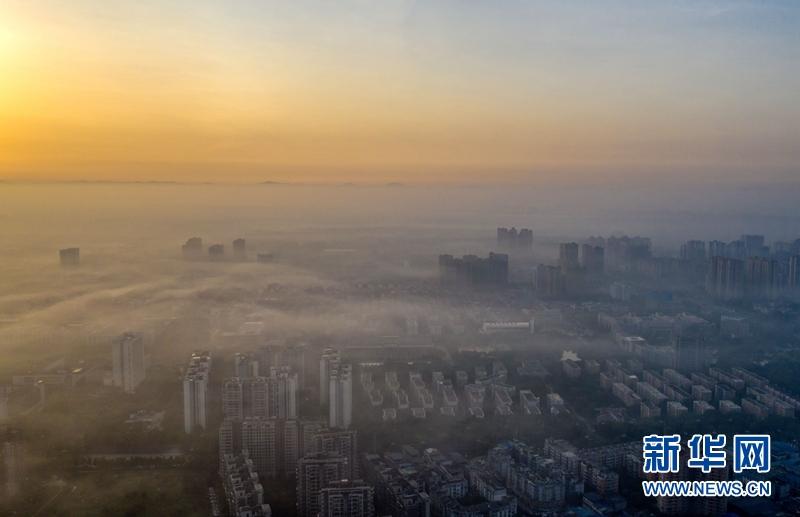 成都新都:云雾缭绕 恍若天空之城