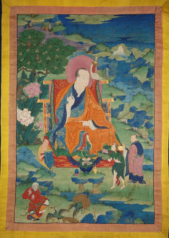 图奇收集的17世纪伐闍罗佛多尊者(Vajriputra Arhat)画作,据推测画作的发现地为西藏东部康巴地区。朱塞佩·图奇博物馆 图