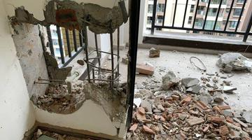 成都市民收房 新房墙面却被砸了洞