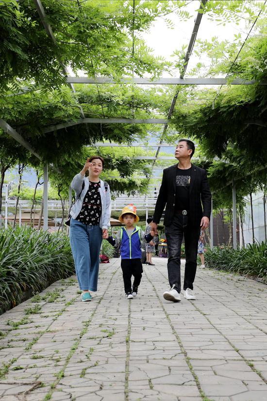 本地游客趁假期带着孩子到城区周边农家乐踏青游玩