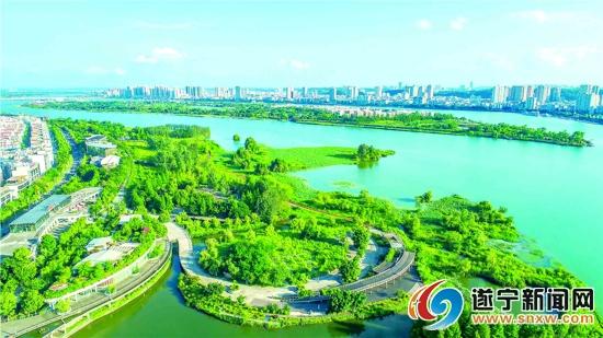 航拍遂宁市河东新区湿地公园