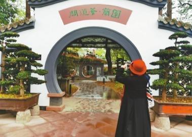 """""""川派盆景园·兰园""""的牌子改成了""""问道荟·兰园""""。图为游客在门口拍照。"""