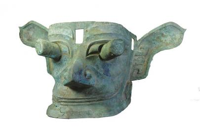 青铜纵目面具
