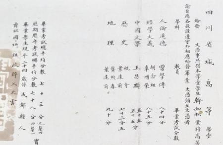 四川省城高等学堂毕业证。