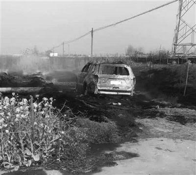 虽经消防扑救,但车子还是被烧成空壳。