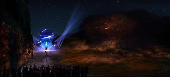 全国首个实景崖壁灯光演艺秀《剑门长歌》9月底试运营