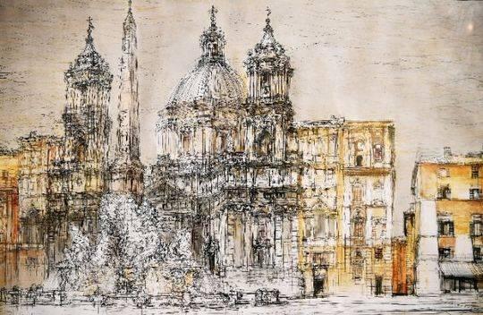 这是7月25日在西班牙马德里拍摄的拉萨罗·加尔迪亚诺博物馆内展出的手绘作品。(新华社记者 郭求达 摄)