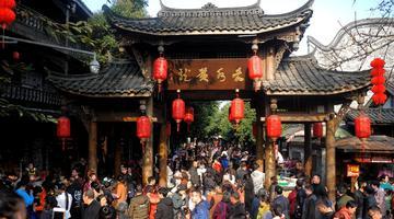 春节大假黄龙溪古镇人气旺