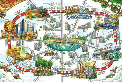 """插画师""""花爷爷""""手绘的成都地铁线路图。"""